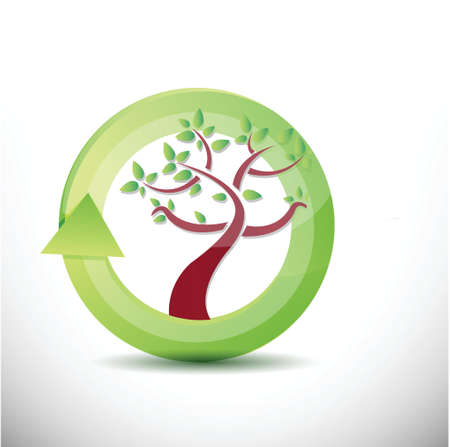 verdant: tree cycle illustration design over a white background Illustration