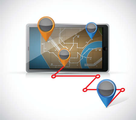 tablet gps and locations illustration design over a white background Vector