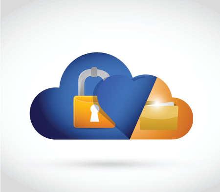 cloud computing slot en omslag illustratie ontwerp op een witte achtergrond Stock Illustratie