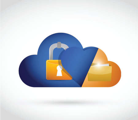 cloud computing lock and folder illustration design over a white background
