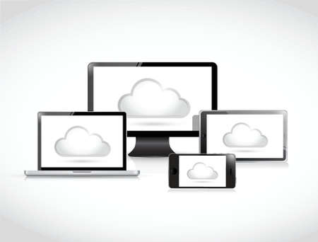 cloud computing electronics illustration design over a white background