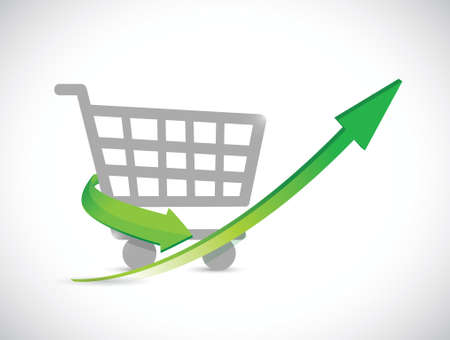 shopping cart up arrow illustration design over a white background
