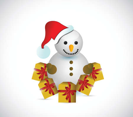 snowman gifts illustration design over a white background Vector