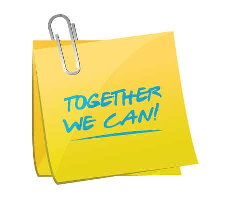 together we can memo post illustration design over a white background Reklamní fotografie - 32867789
