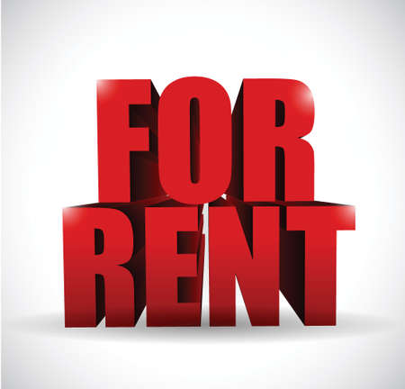 rent: for rent 3d text illustration design over a white background Illustration