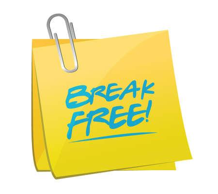 run away: break free memo post illustration design over a white background