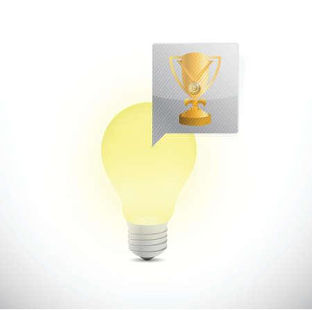 light bulb and trophy illustration design over a white background Vector