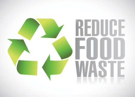 food waste: reduce food waste sign illustration design over a white background Illustration