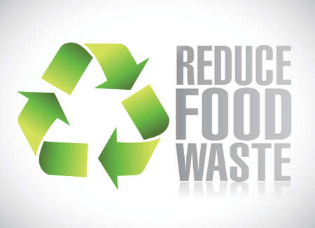 reduce food waste sign illustration design over a white background Illustration