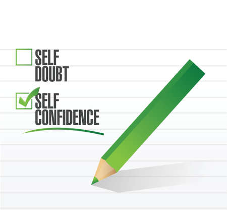 self confidence: self confidence check mark illustration design over a white background
