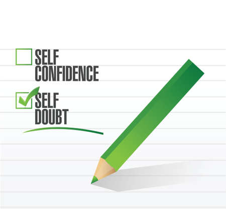 self doubt check mark illustration design over a white background