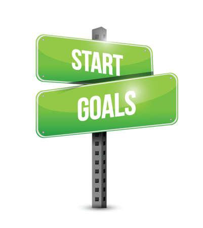 define: start goals sign illustration design over a white background