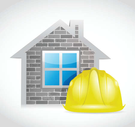 house and construction helmet illustration design over a white background Vector
