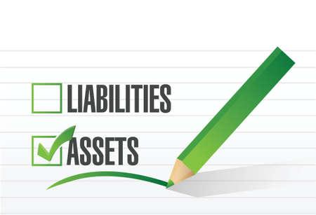 net worth: assets check mark illustration design over a white background