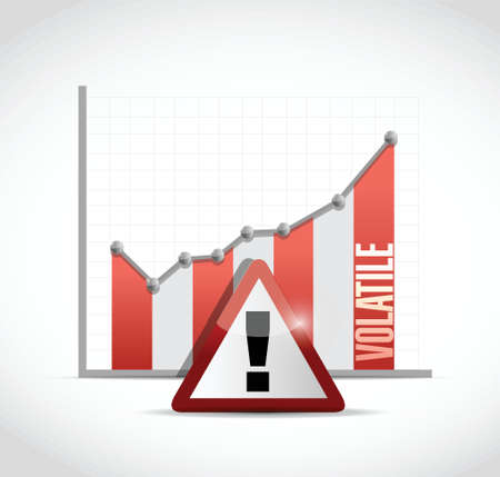 volatile: volatile business graph and warning sign illustration design over a white background