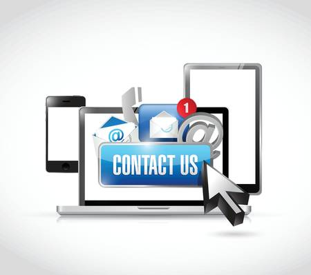 contact us via electronics illustration design over a white background