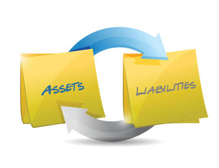 obligaciones: activos y pasivos ciclo diagrama ilustraci�n dise�o sobre un fondo blanco Vectores