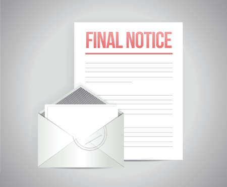 demand: final notice documents illustration design over a white background