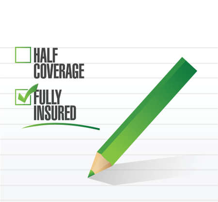 fully: fully insured check mark illustration design over a white background Illustration