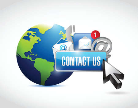 contact us around the globe concept illustration design over a white background Vector