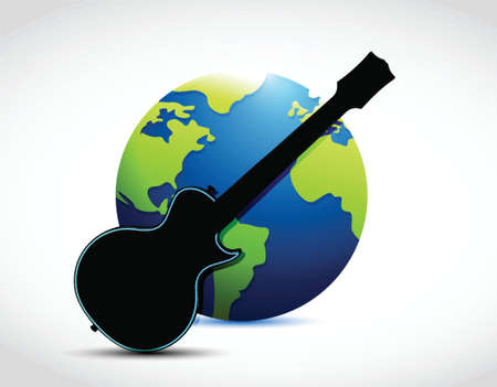 adulation: globe and guitar illustration design over a white background