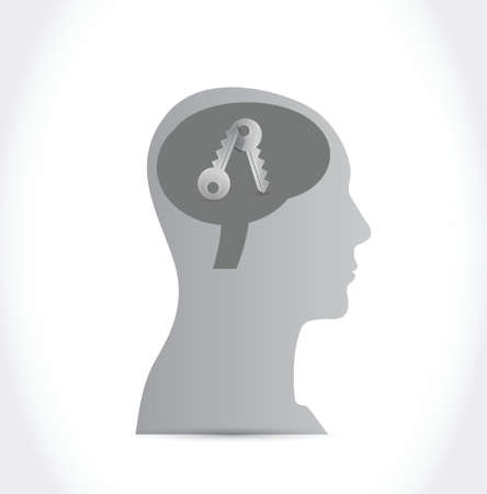 head and keys. illustration design over a white background Vector