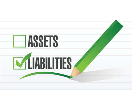 net worth: liabilities check mark illustration design over a white background Illustration