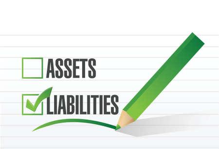liabilities: liabilities check mark illustration design over a white background Illustration