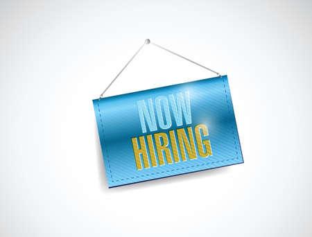 now hiring sign illustration design over a white background