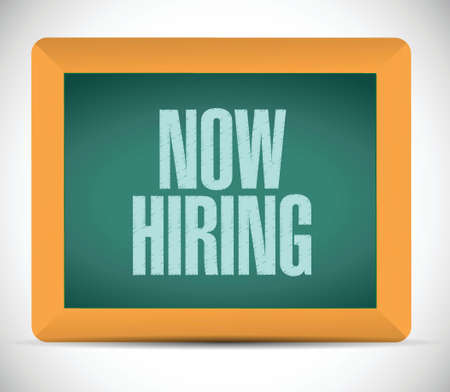 help wanted sign: now hiring sign illustration design over a white background