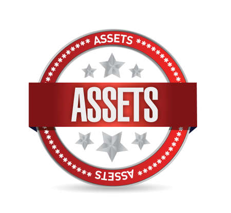 accountancy: assets seal illustration design over a white background