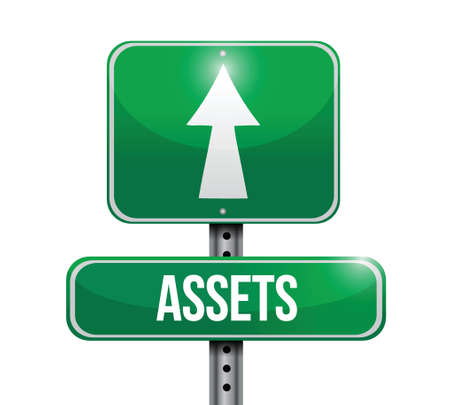 equity: assets street sign illustration design over a white background