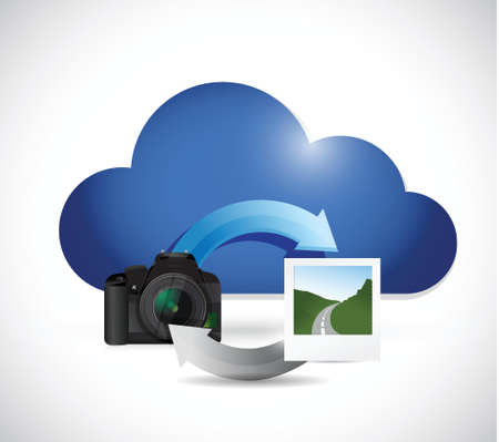 cloud computing phone and pictures illustration design over a white background Illustration