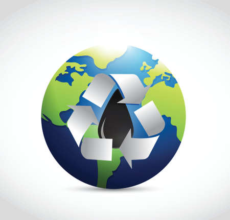 distill: recycle oil around the globe illustration design over a white background