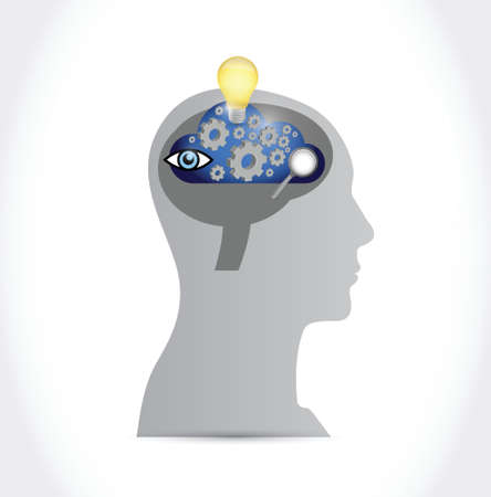 eureka: cloud brainstorming concept illustration design over a white background