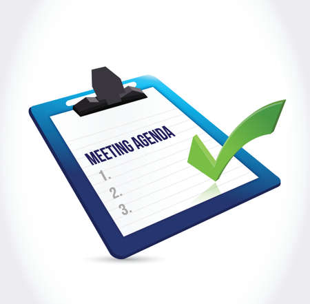 meet: meeting agenda clipboard illustration design over a white background Illustration