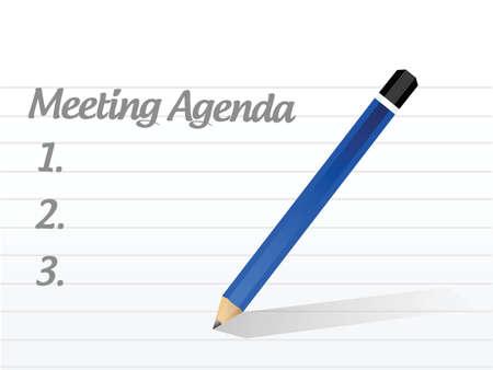 meeting agenda illustration design over a white background 免版税图像 - 33222993
