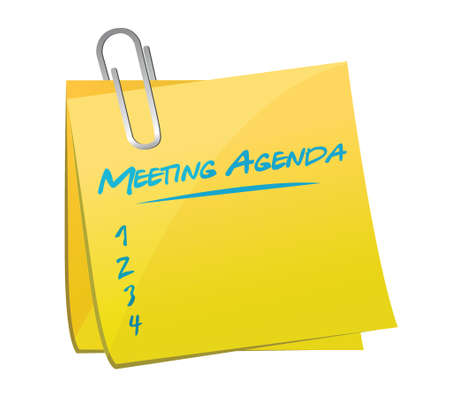 business meeting: meeting agenda memo illustration design over a white background