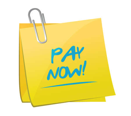 pay now memo post illustration design over a white background