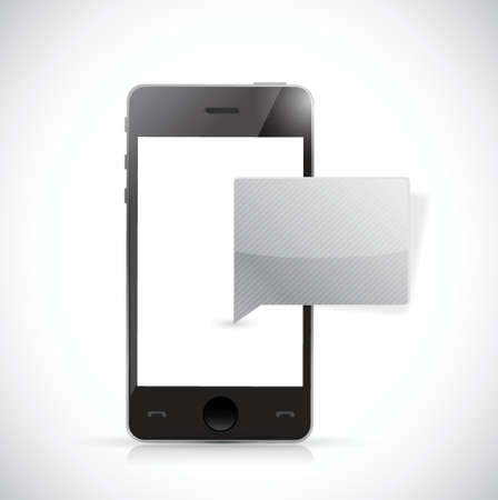 phone and message bubble illustration design over a white background