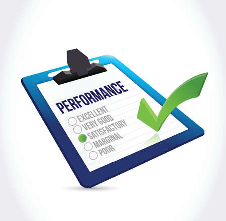 tickbox: satisfactory performance clipboard checkmark illustration design over a white background