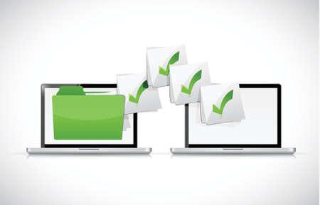 laptops uitwisselen van bestanden illustratie ontwerp op een witte achtergrond