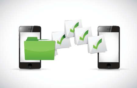 transferring: smart phones transferring files illustration design over a white background Illustration