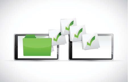 exchanging: tablets exchanging files illustration design over a white background