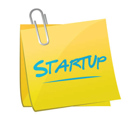 start up memo post illustration design over a white background