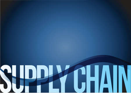 terminology: supply chain text illustration design over a blue wave background Illustration