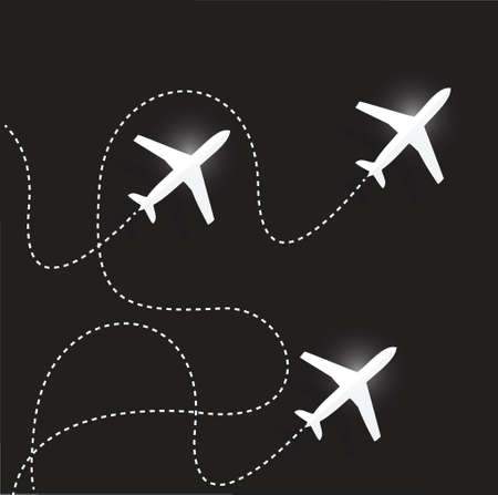 fly routes and airplanes. illustration design over a black background