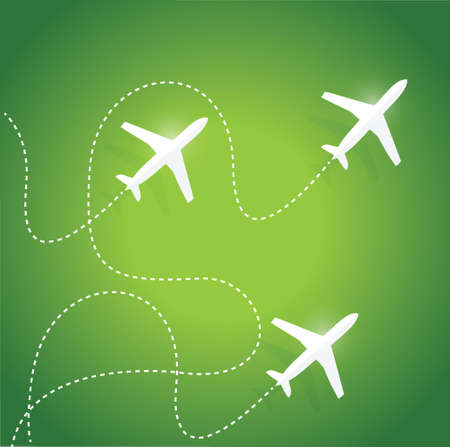 fly routes and airplanes. illustration design over a green background