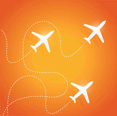 divert: fly routes and airplanes. illustration design over a orange background