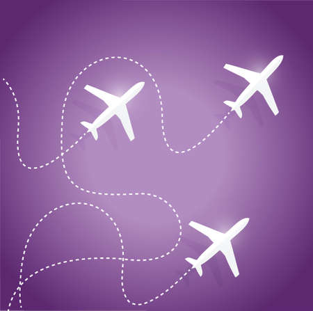 fly routes and airplanes. illustration design over a purple background
